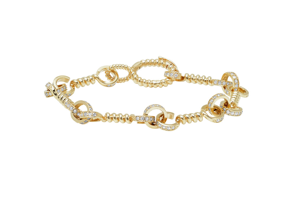 YELLOW GOLD + DIAMOND TWIST BAR LINK BRACELET