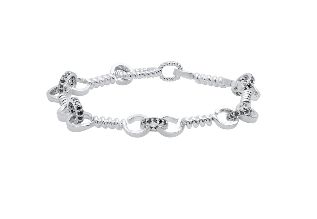 SILVER TWIST BAR LINK BRACELET WITH BLACK DIAMONDS