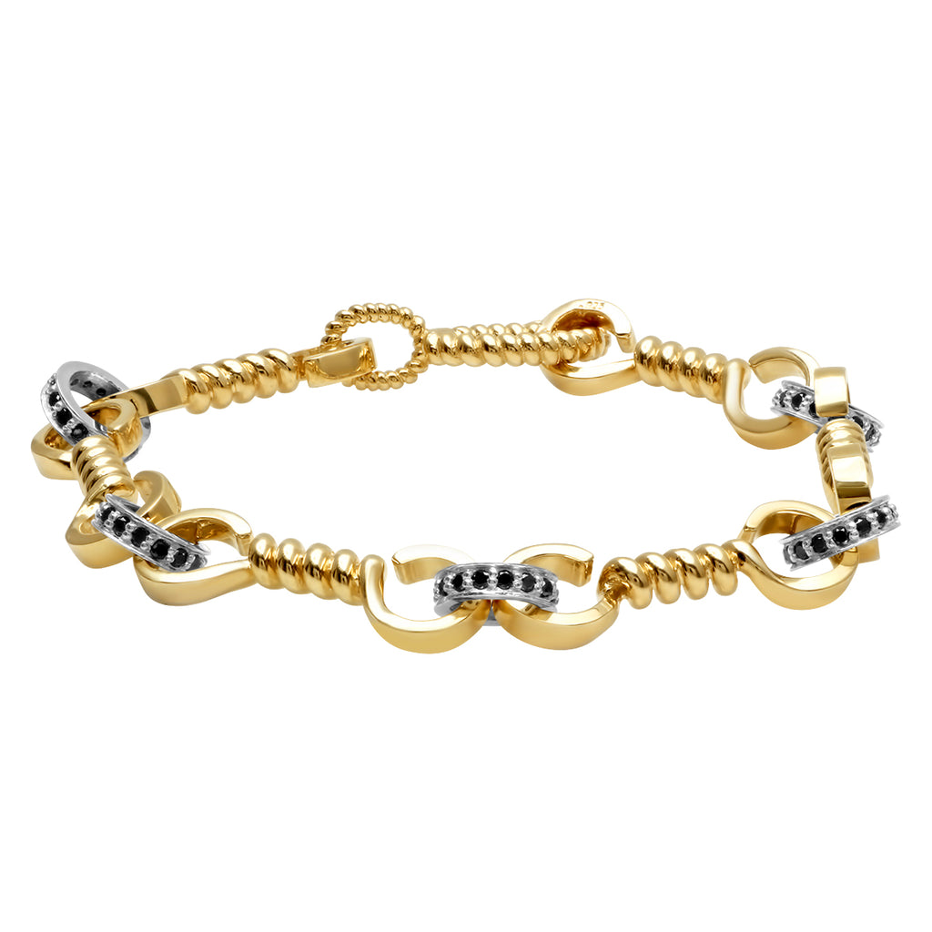 YELLOW GOLD TWIST BAR LINK BRACELET WITH SILVER LINKS + BLACK DIAMONDS