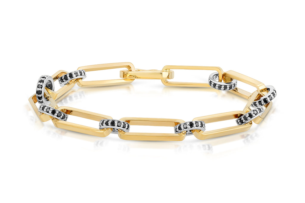 LONG OVAL LINK BRACELET IN 14K YELLOW GOLD WITH POLISHED SILVER AND BLACK DIAMOND RONDELLES