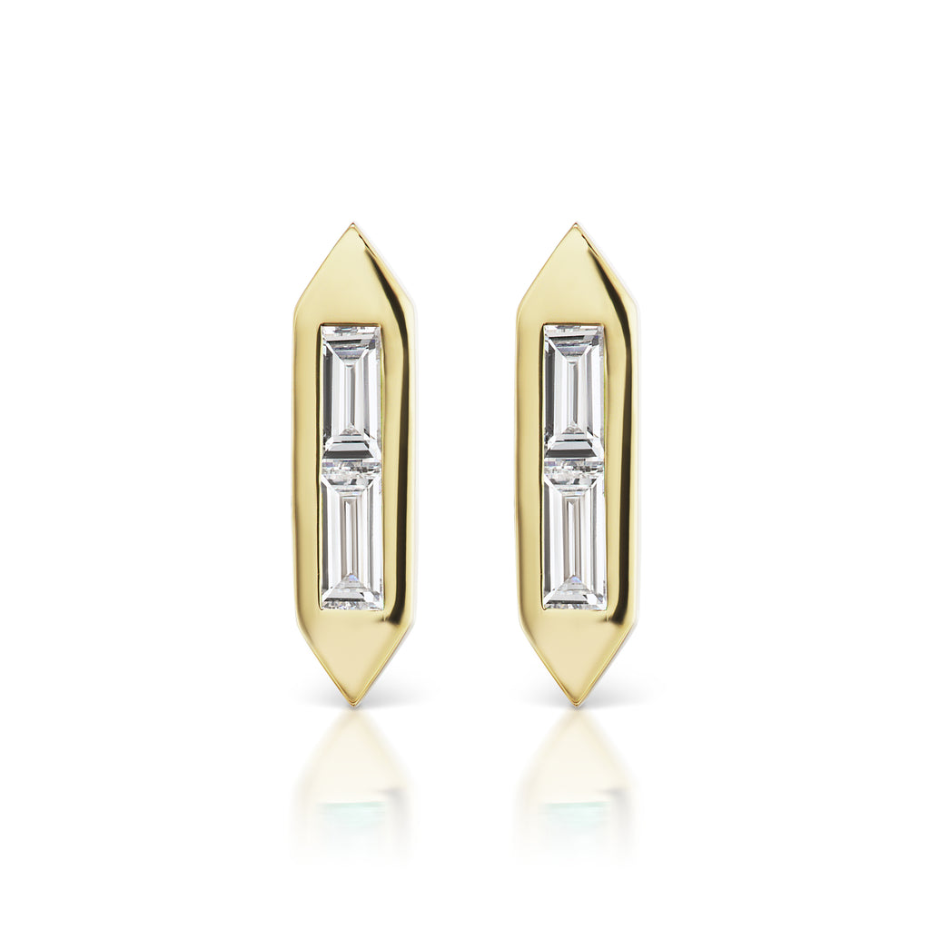 Diamond Short Line Stud Earrings
