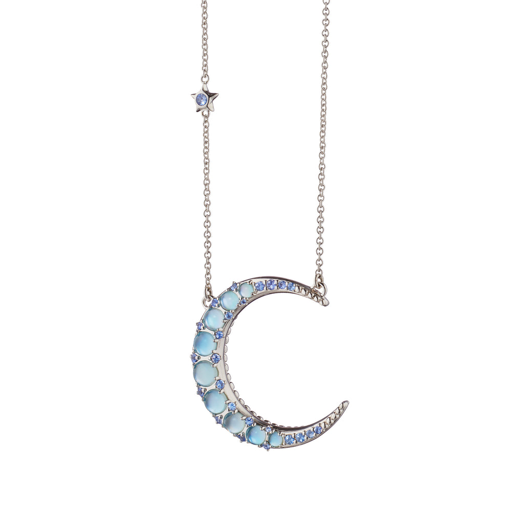 Sun, Moon and Stars Blue Topaz Crescent Moon Necklace