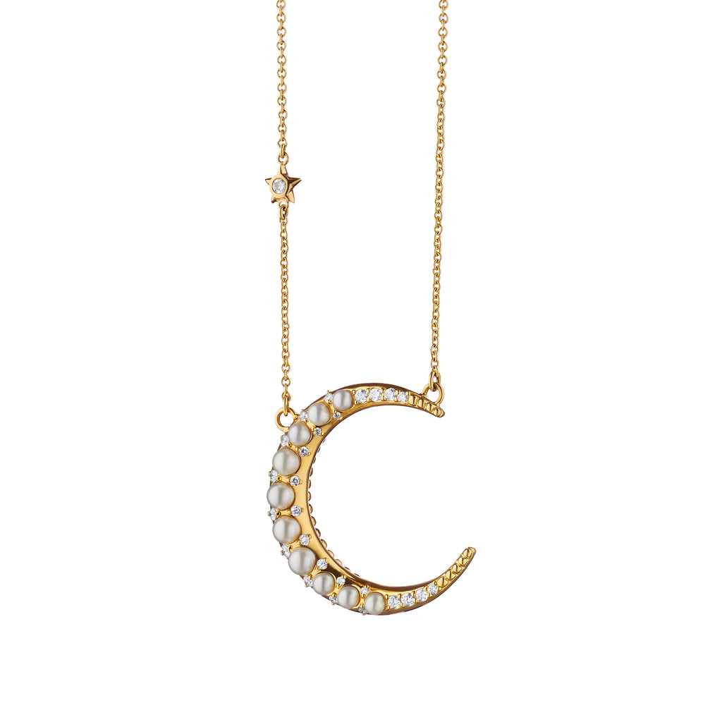 Sun, Moon and Stars Pearl Crescent Moon Necklace