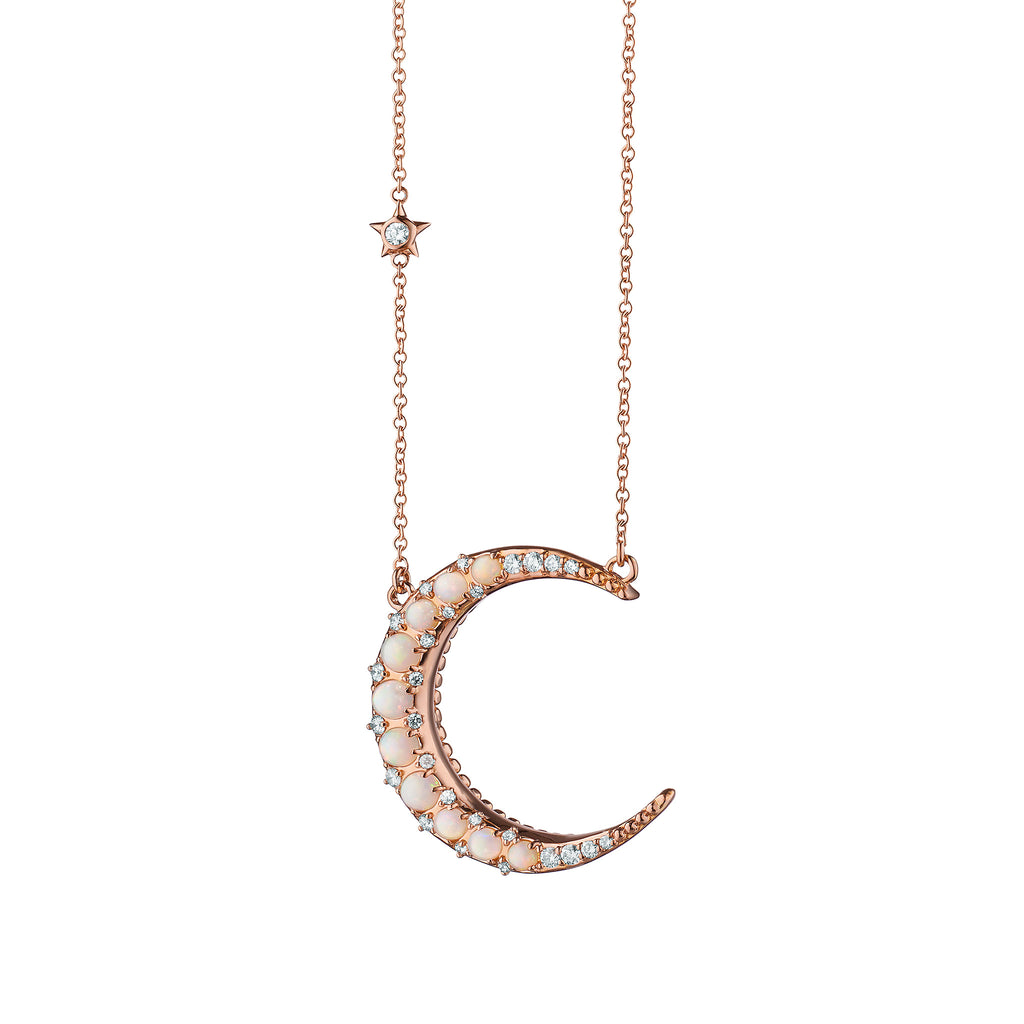 Sun, Moon and Stars Crystal Opal Rounded Crescent Moon Necklace