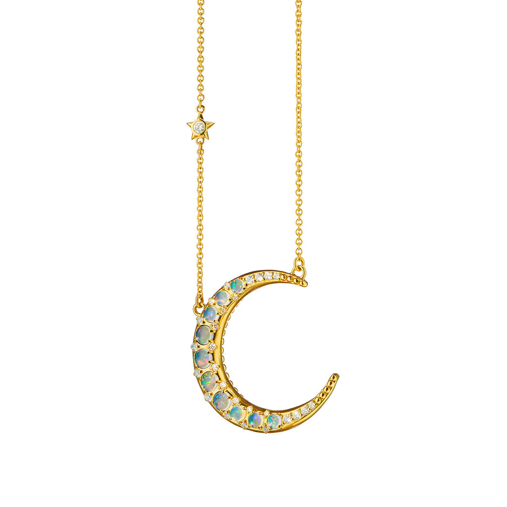 Sun, Moon and Stars Opal Crescent Moon Necklace