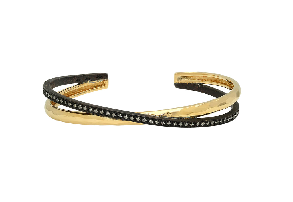 DOUBLE BANGLE IN 14K YELLOW GOLD AND OXIDIZED SILVER WITH DIAMONDS