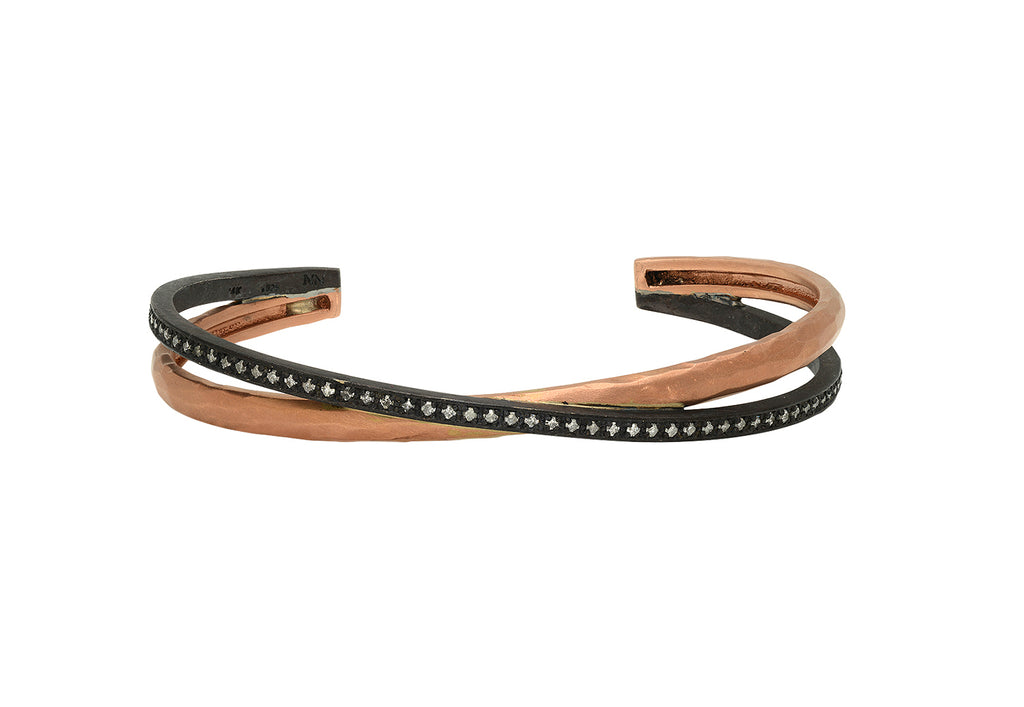 DOUBLE BANGLE IN 14K ROSE GOLD AND OXIDIZED SILVER WITH DIAMONDS