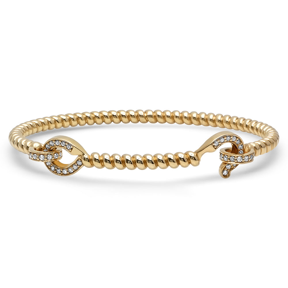YELLOW GOLD AND DIAMOND HOOK BANGLE