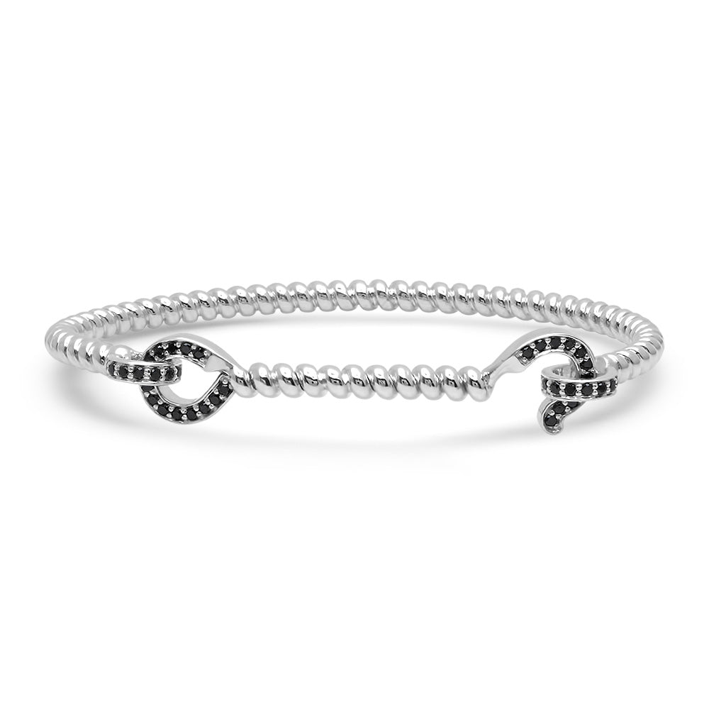 SILVER HOOK BANGLE WITH BLACK DIAMONDS