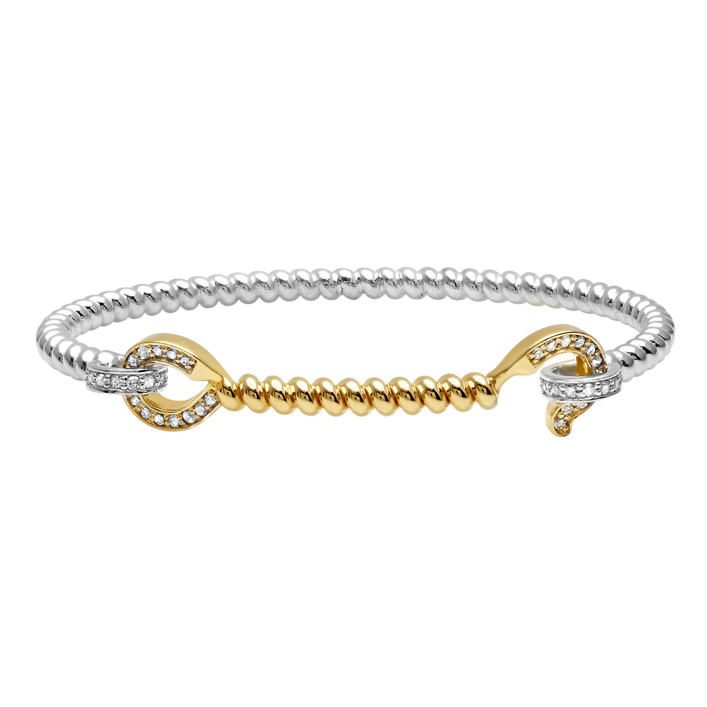 SILVER + YELLOW GOLD HOOK BANGLE WITH DIAMONDS