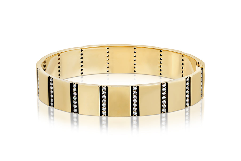 DIAMOND STRIPE 14K YELLOW GOLD BANGLE WITH BLACK RUTHENIUM BEVEL TRIM
