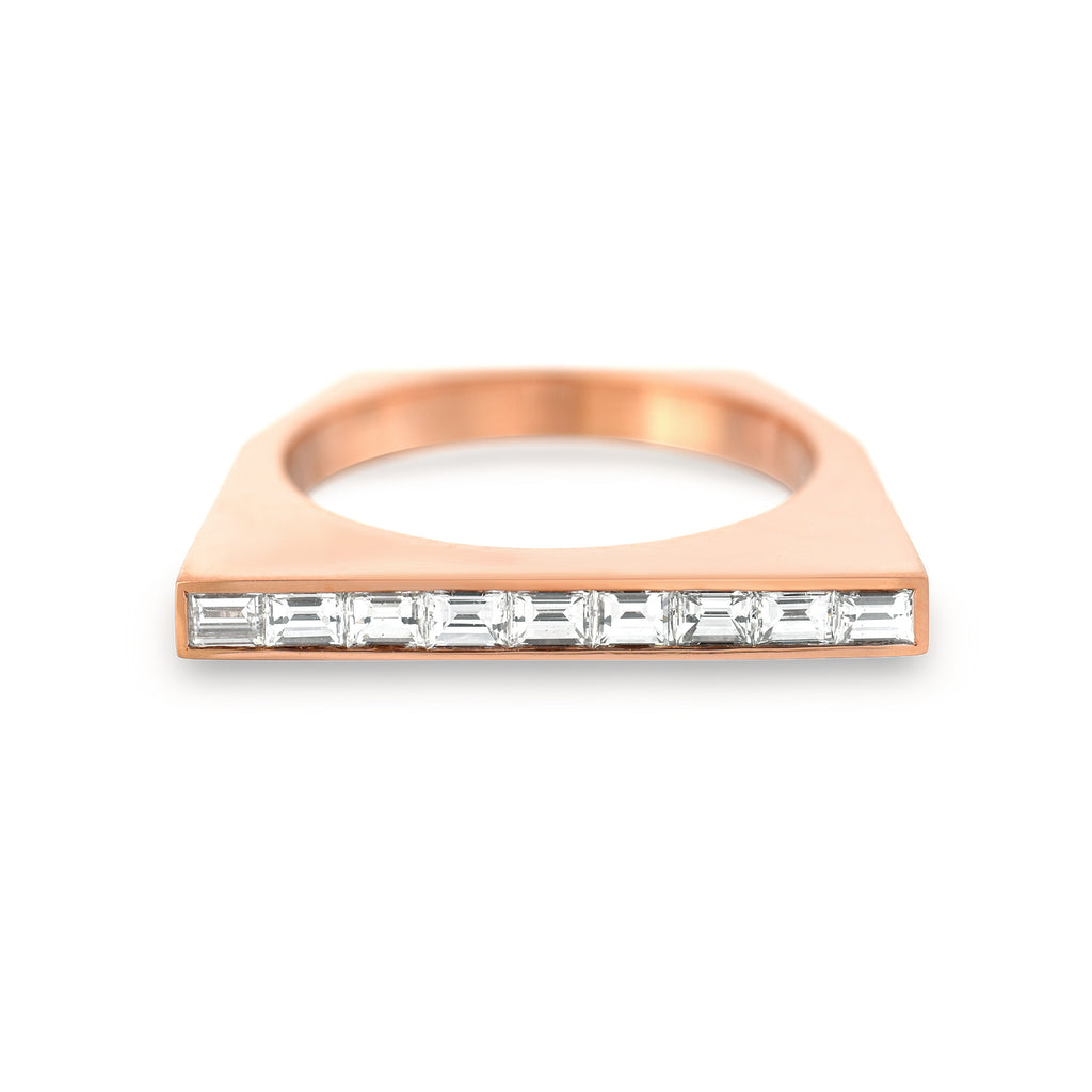Diamond Baguette Platform Ring