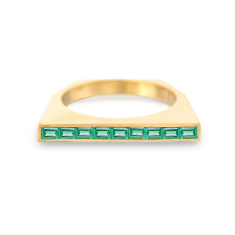 Colored Stone Baguette Platform Ring