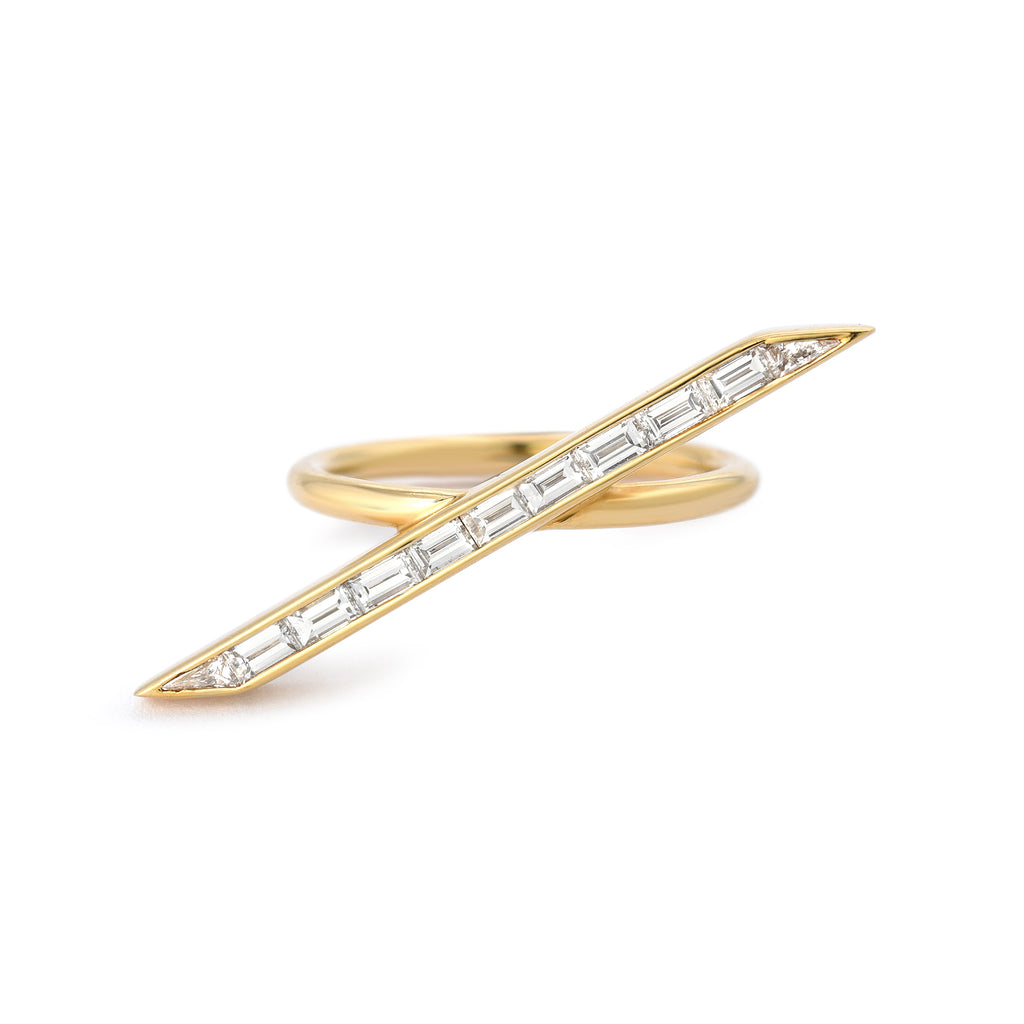 Diagonal Diamond Baguette Line Ring