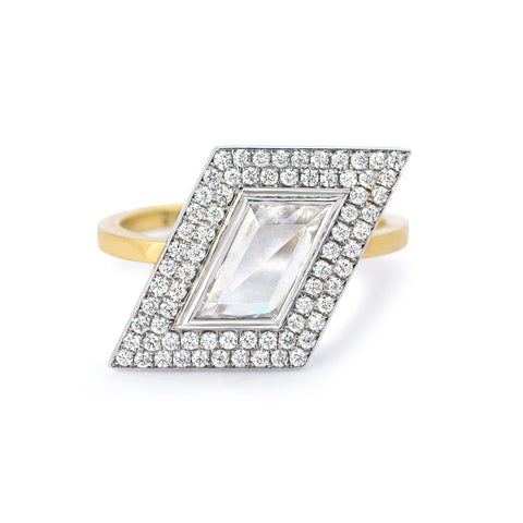 Rhomboid White Topaz and Diamond Ring