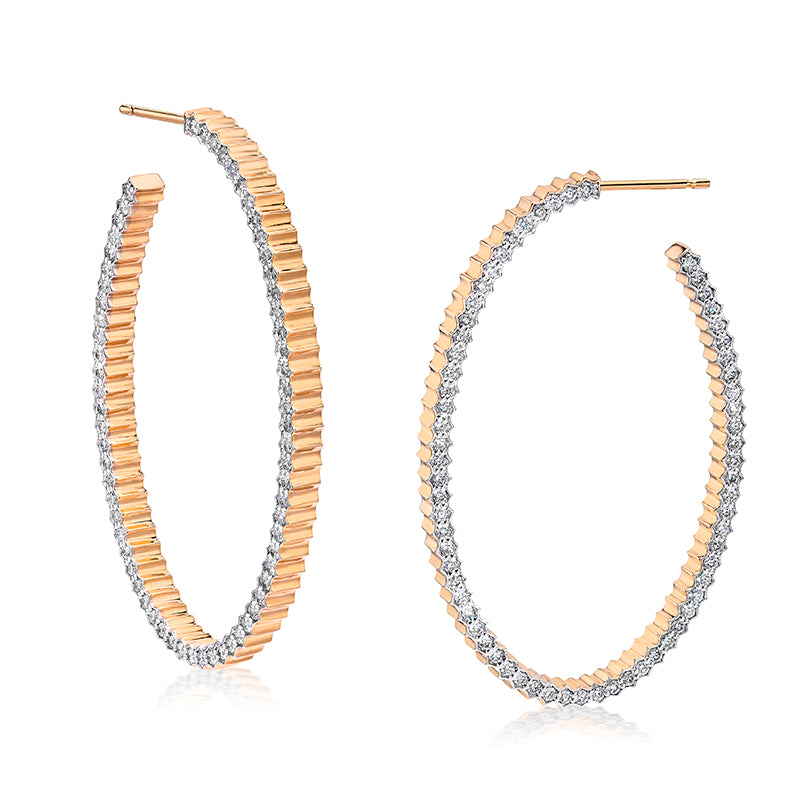 Clive Diamond Fluted Hoop Earrings