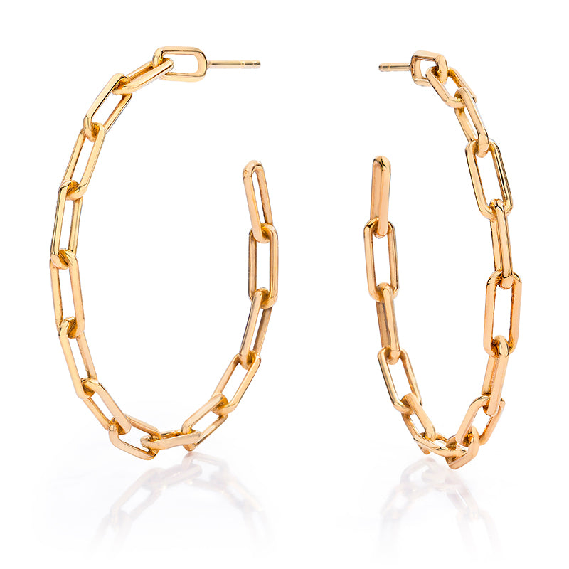"Saxon 1.75"" Gold Chain Link Hoop Earrings"