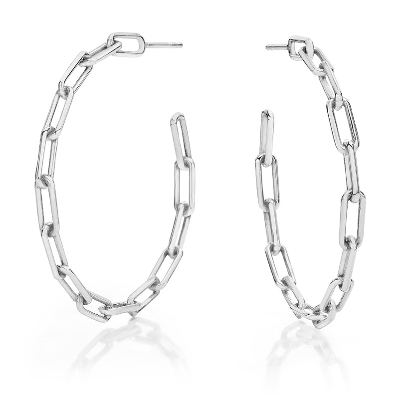 "Saxon 1.75""  Silver Chain Link Hoop Earrings"