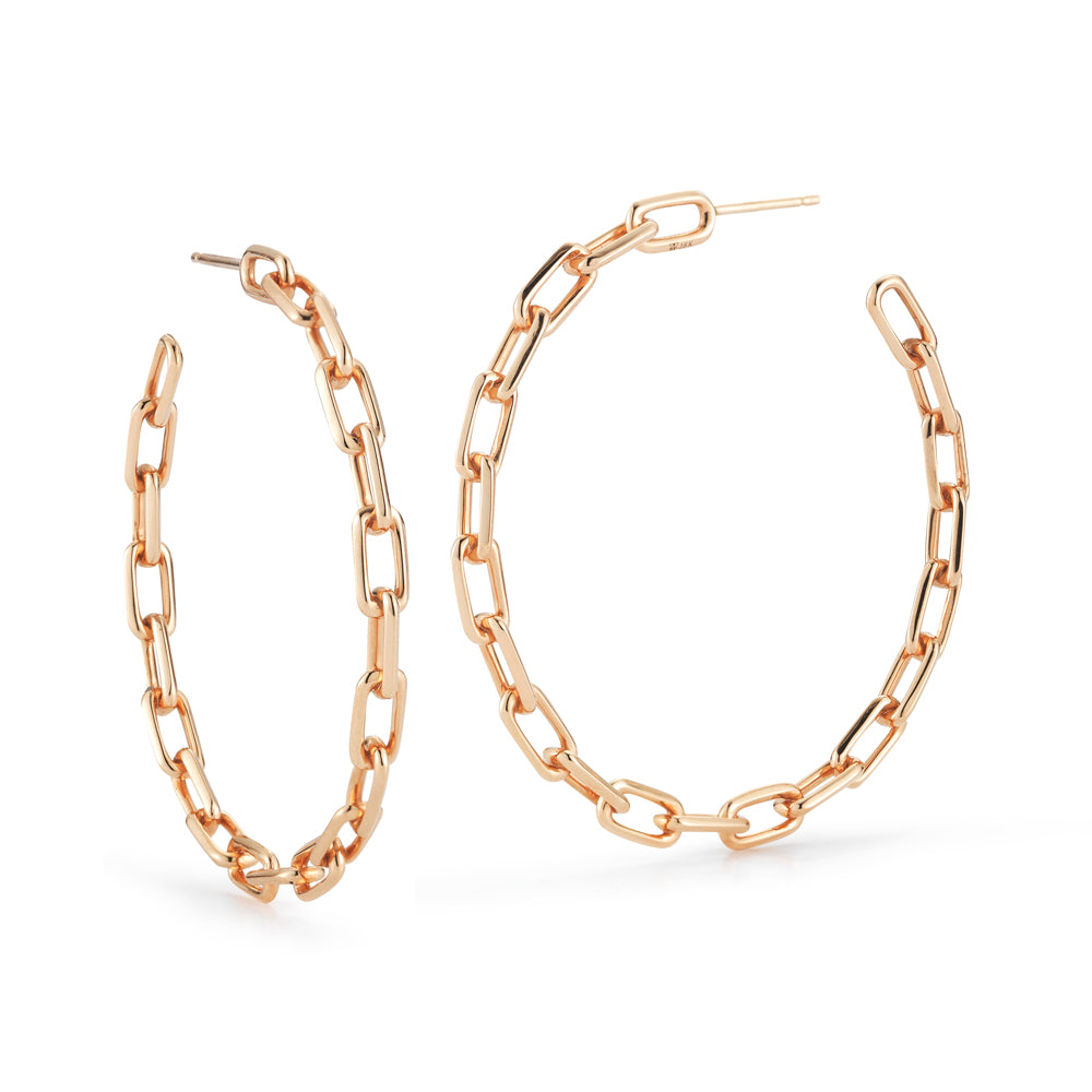 "Saxon 2"" Gold Chain Link Hoop Earrings"