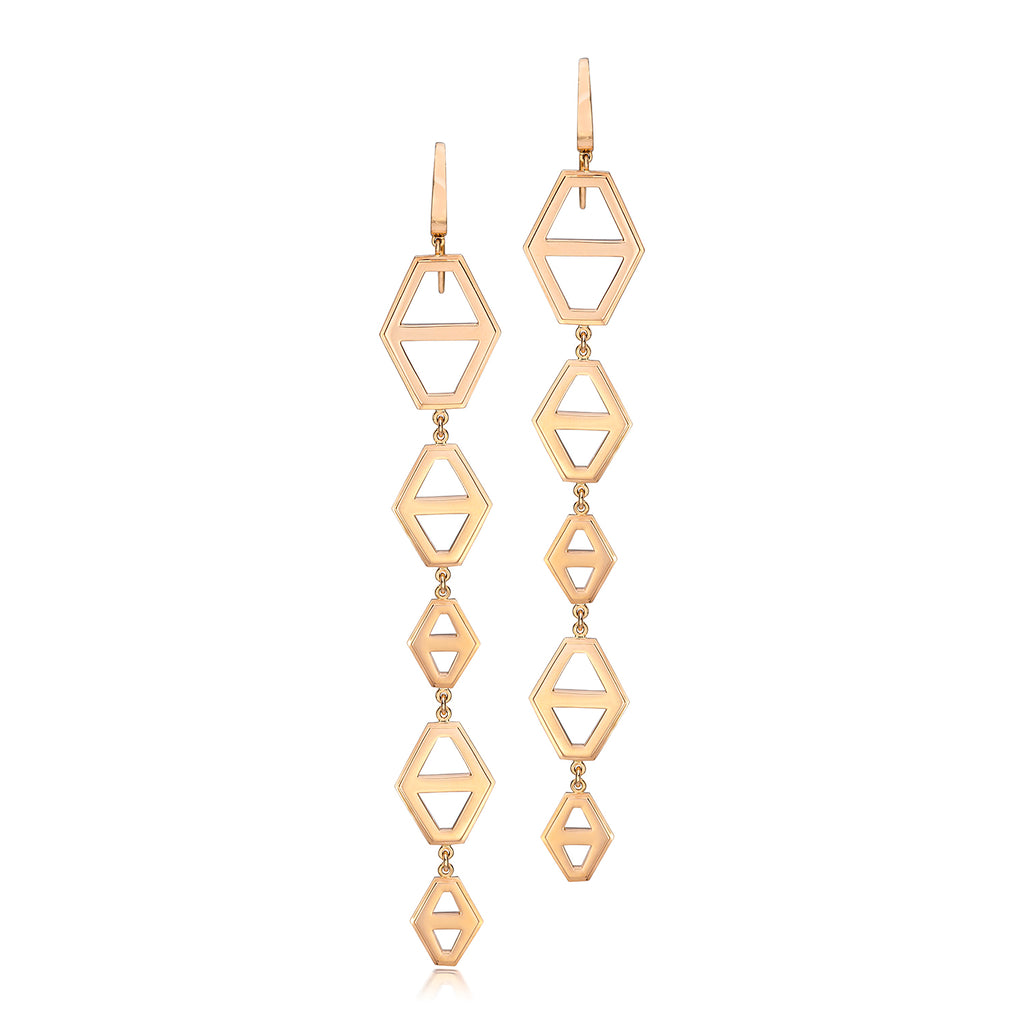 Keynes 5 Drop Gold Hex Earrings
