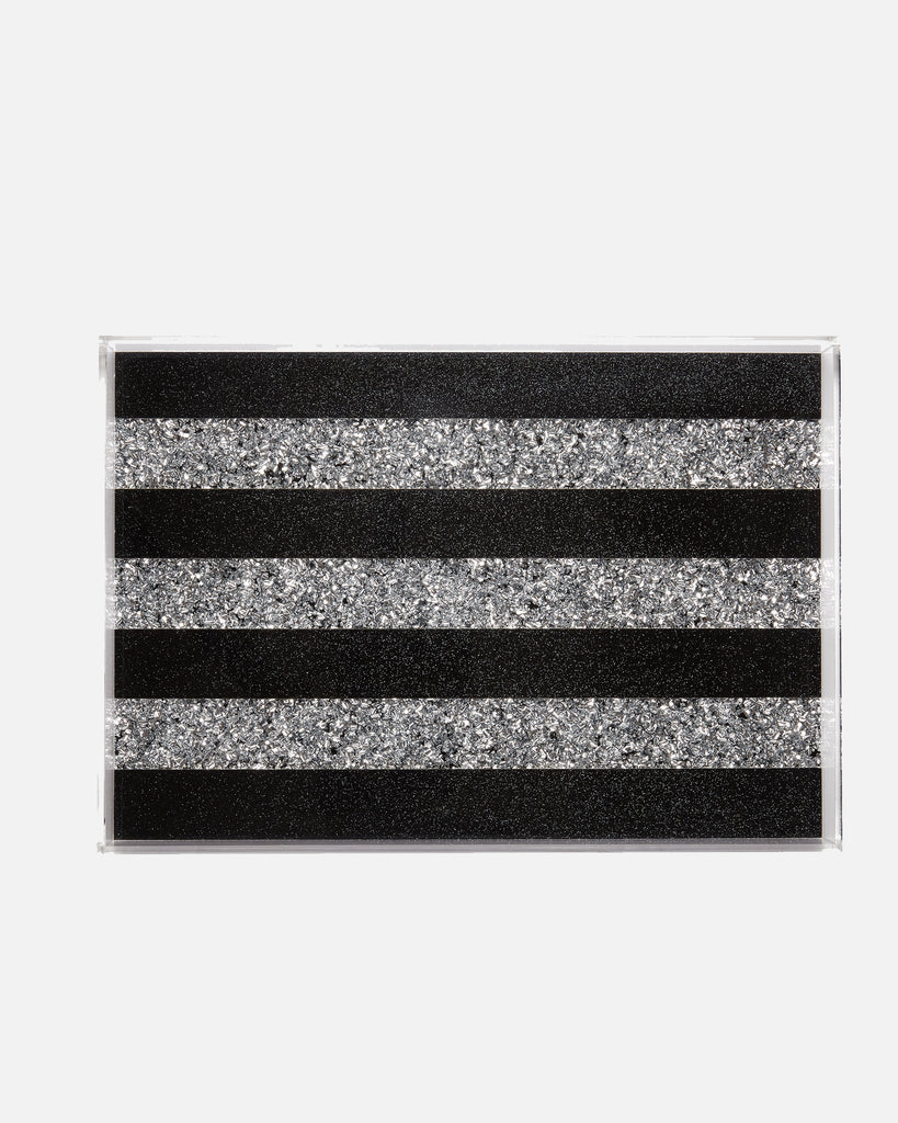Vanity Tray Striped - Black/Silver