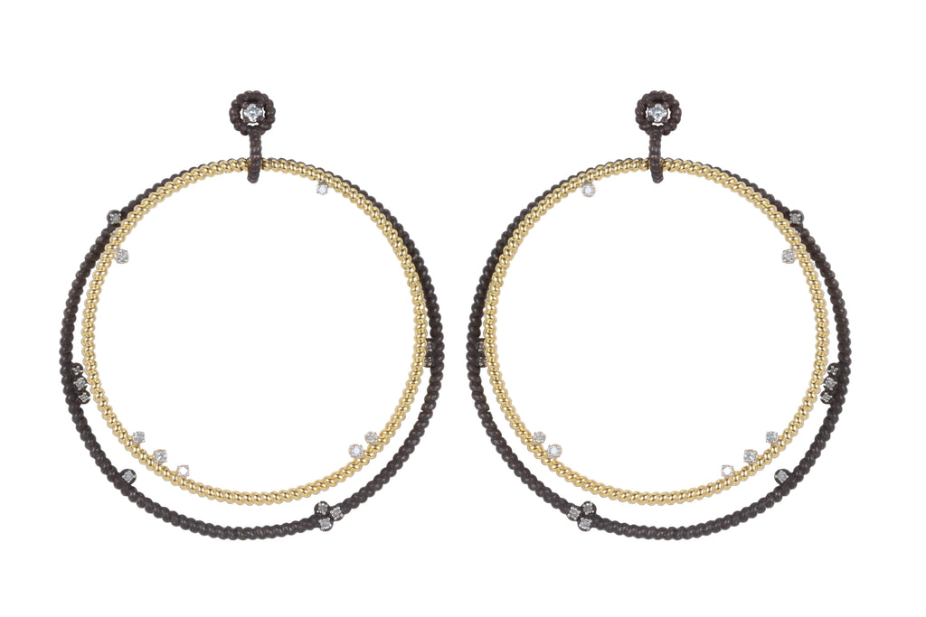 14K YELLOW AND OXIDIZED SILVER DOUBLE DIAMOND FLOATING HOOPS