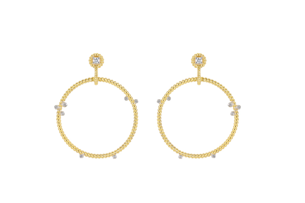 14K YELLOW GOLD SMALL FLOATING DIAMOND HOOPS