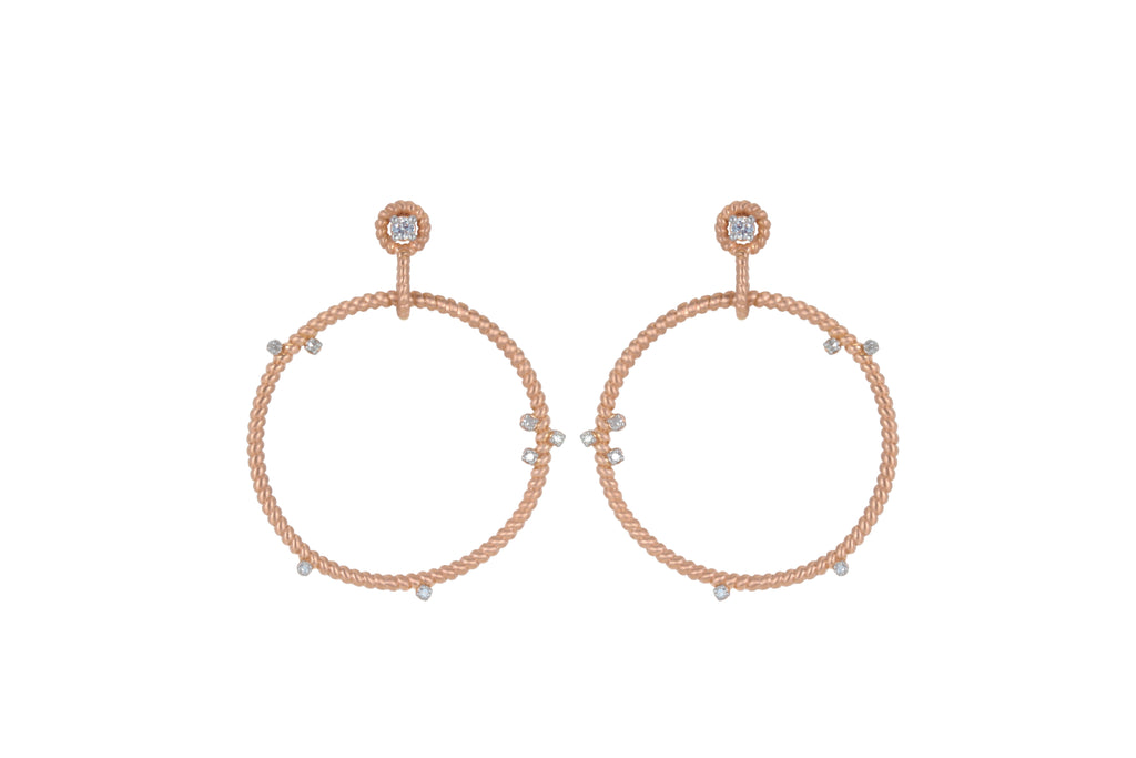 14K ROSE GOLD SMALL FLOATING DIAMOND HOOPS