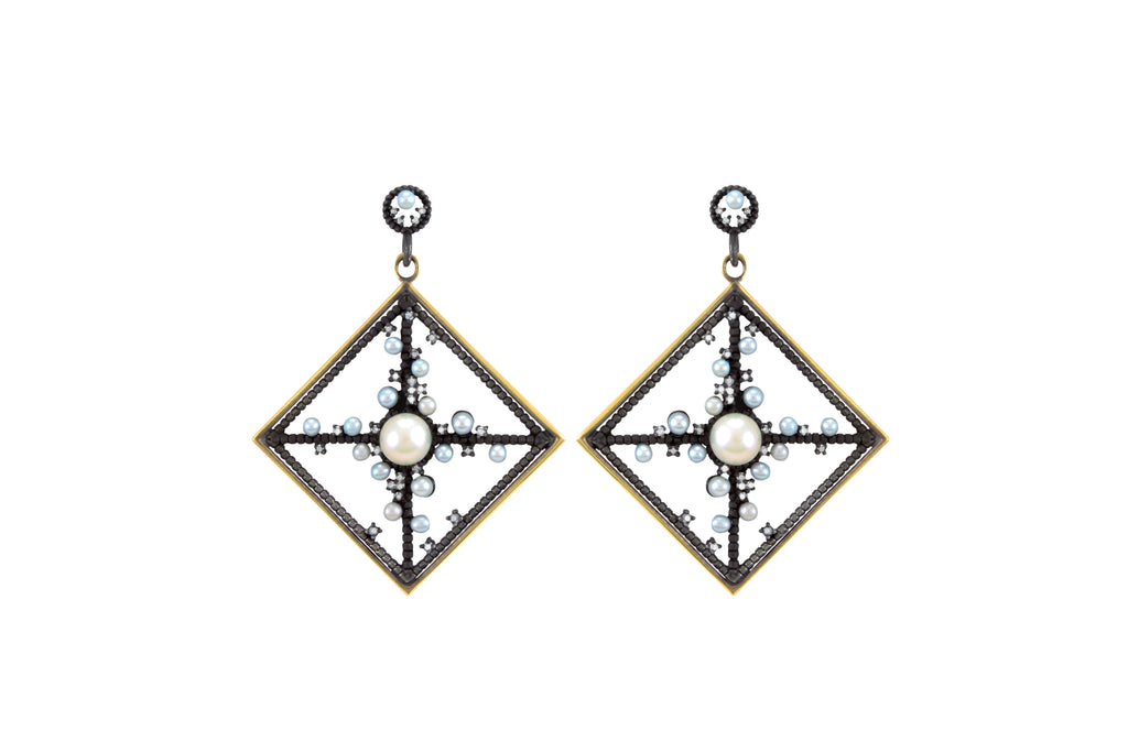 OXIDIZED SILVER AND GOLD FRAME DIAMOND AND PEARL EARRINGS