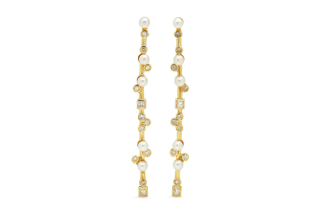 YELLOW GOLD LONG STICK EARNINGS WITH PEARLS AND DIAMONDS