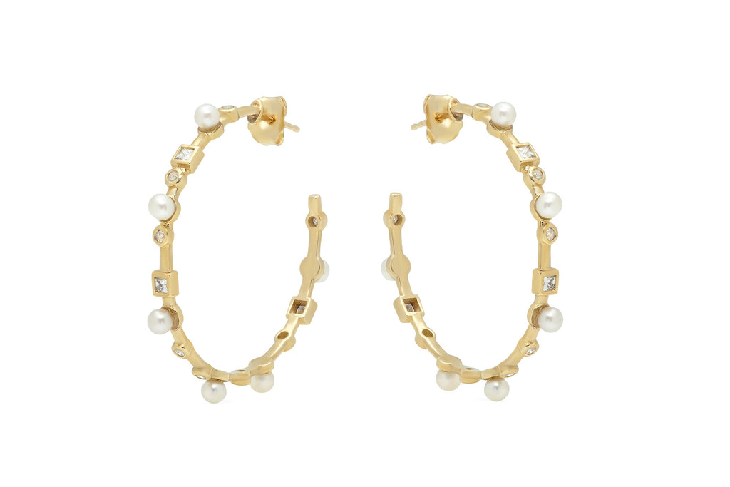 14K YELLOW GOLD PEARL AND DIAMOND HOOPS