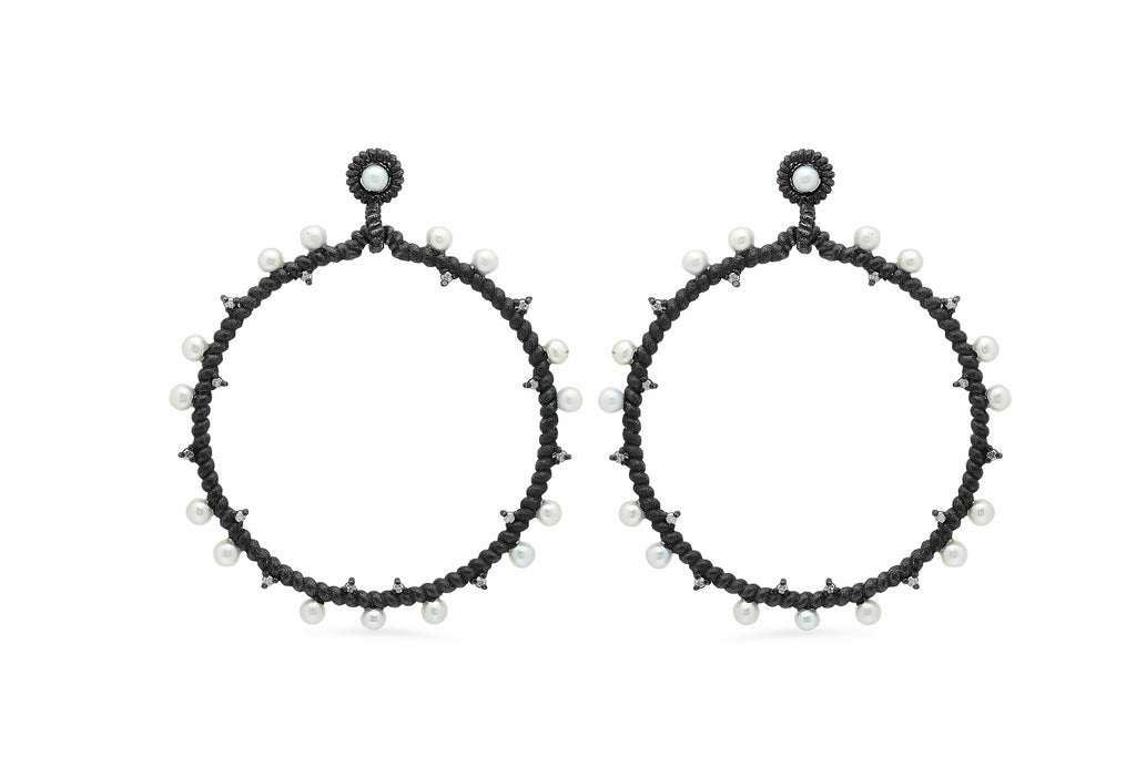 OXIDIZED SILVER HOOP DOTTED WITH DIAMONDS AND PEARLS
