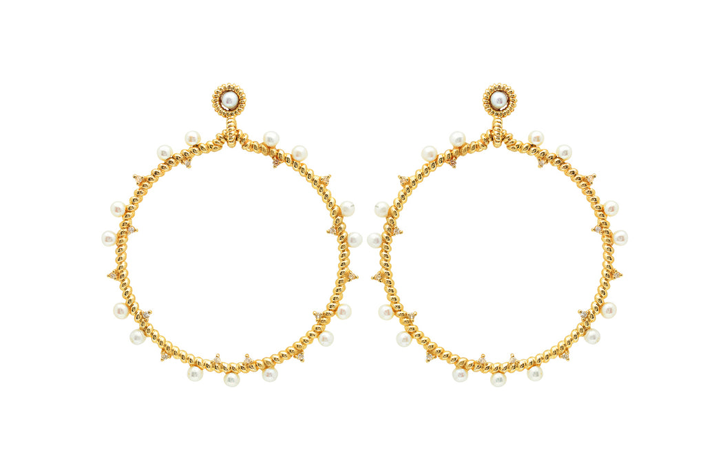 YELLOW GOLD HOOP DOTTED WITH DIAMONDS AND PEARLS
