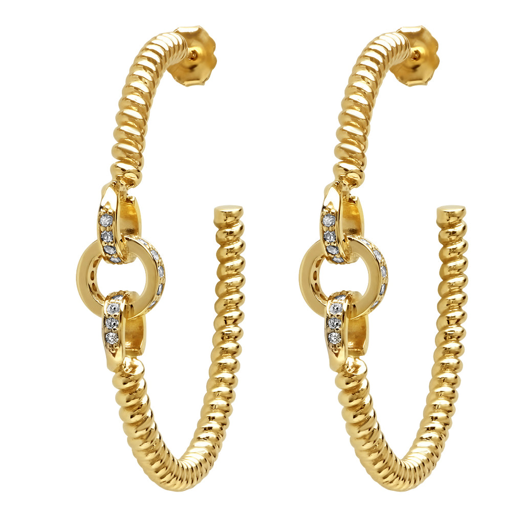 YELLOW GOLD AND DIAMOND LINK TWIST HOOPS
