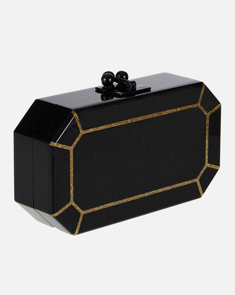 Fiona Faceted Clutch - Obsidian/Gold Glitter