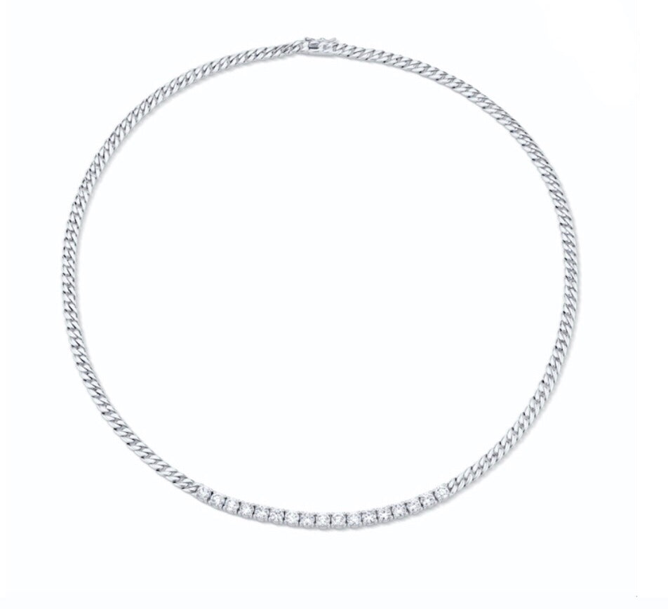 Plain Cuban Link and Short Diamond Line Necklace