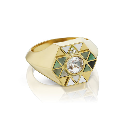 Elements Stone Inlay Pinky Ring