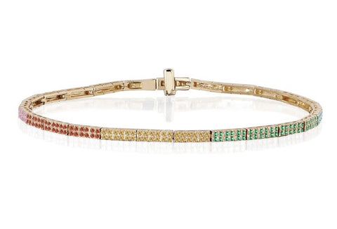 Rainbow Double Row Eternity Bracelet