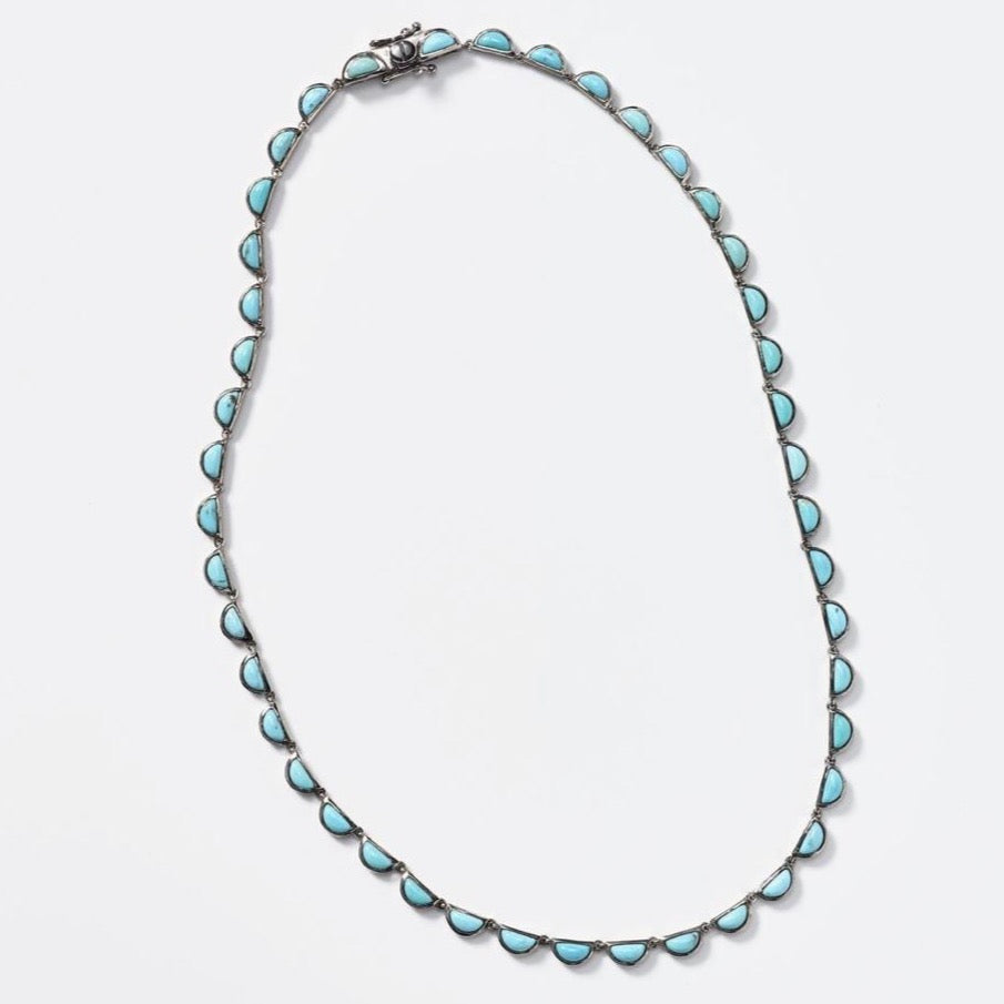 Small Scallop Riviere Turquoise Necklace