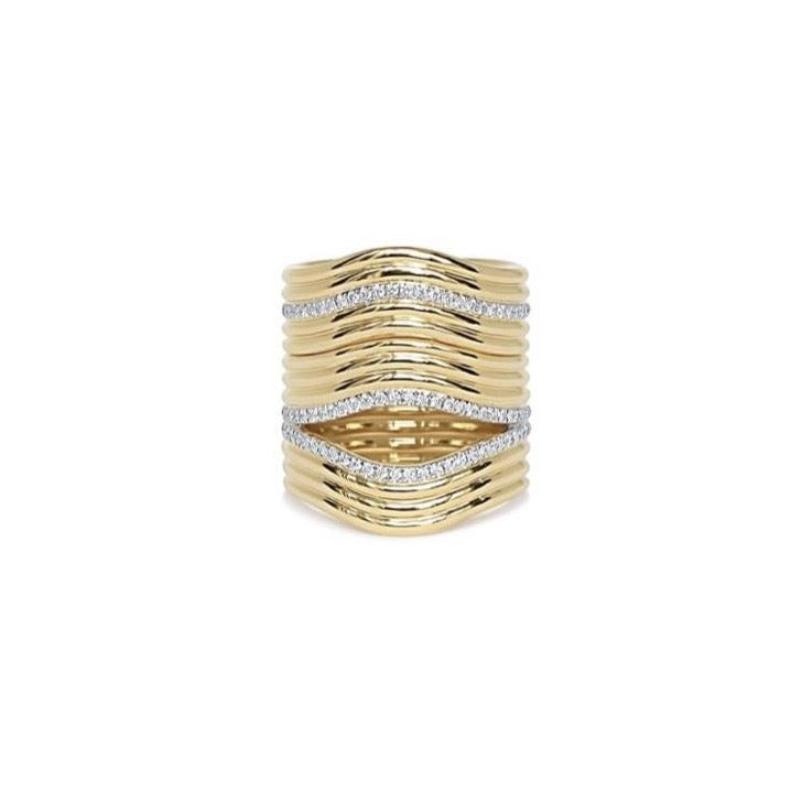 Stacked Berceau Gold and Diamond Ring
