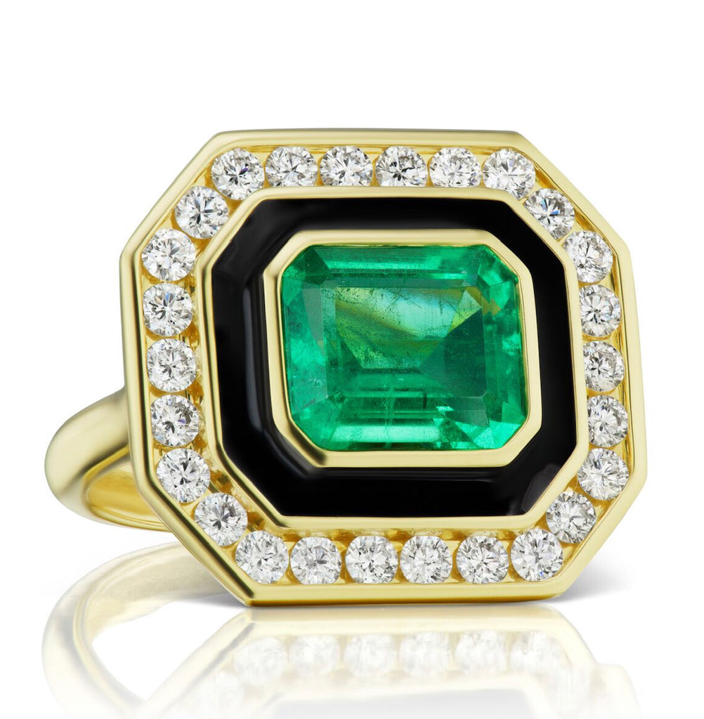 Museum Series Emerald Ring with Black Enamel and Diamonds