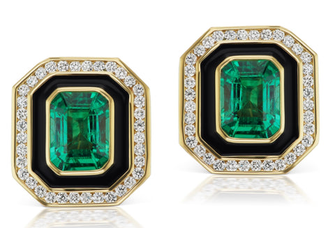 Museum Series Emerald Earrings with Black Enamel and Diamonds