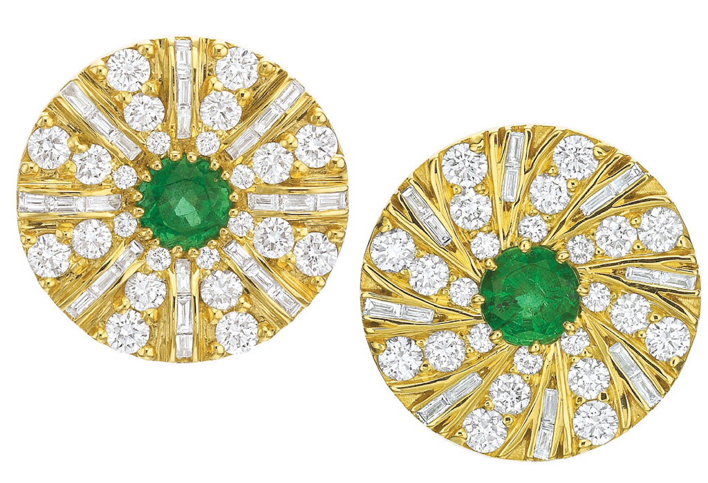 Shazam Mismatch Diamond and Emerald Earrings