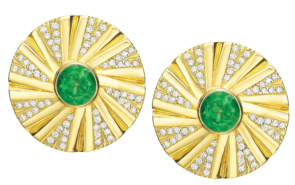 Shazam Diamond and Emerald Earrings