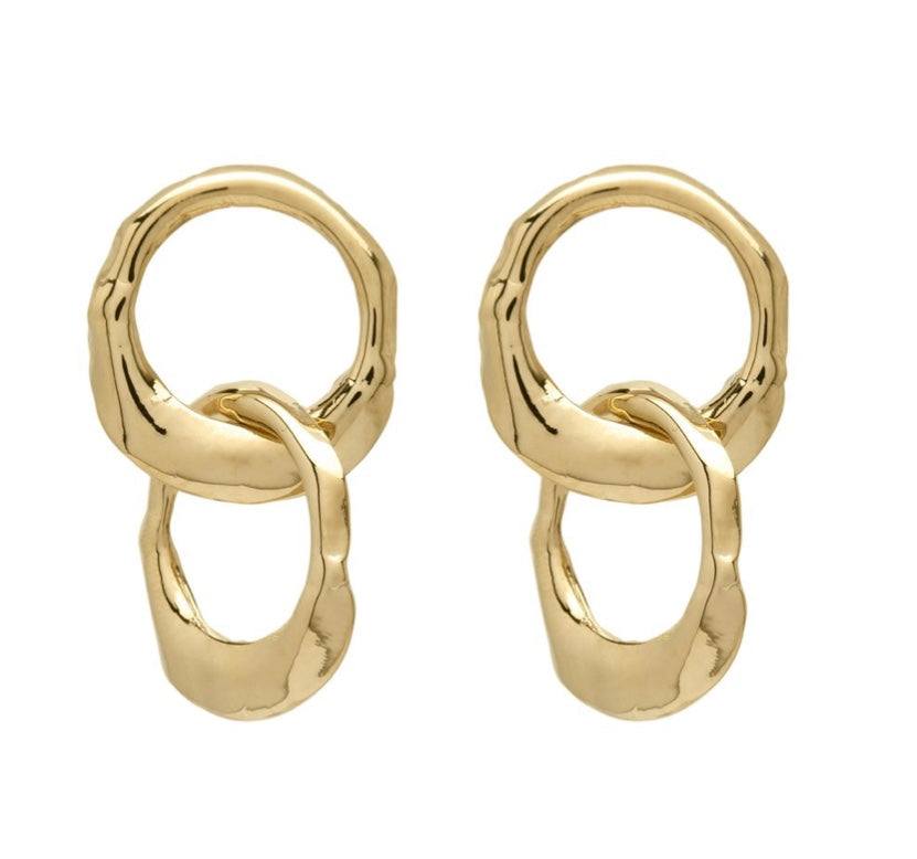Double Gold 'Oyster' Earrings
