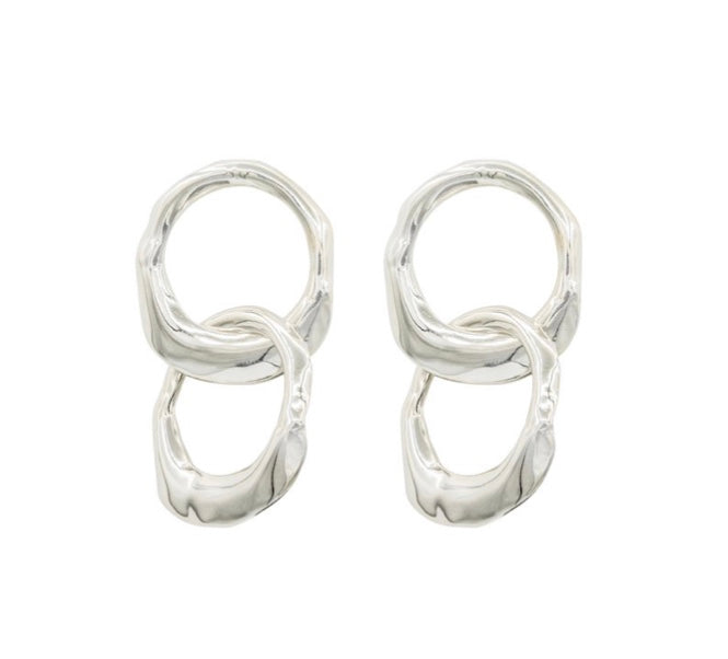 Double Sterling 'Oyster' Earrings