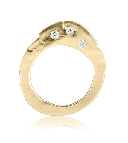 Gold & Triple Diamond Slice Ring