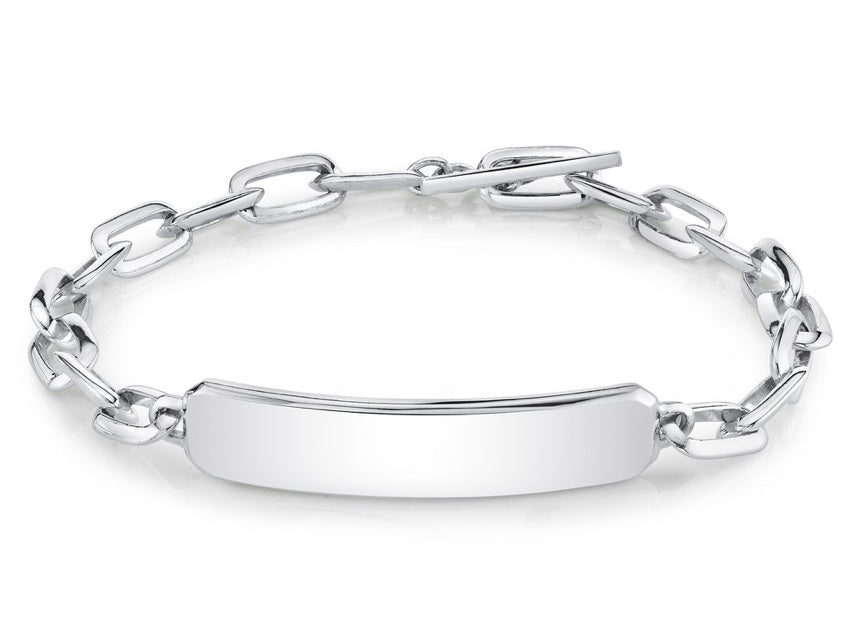 Large Link Silver Chubby ID Bracelet