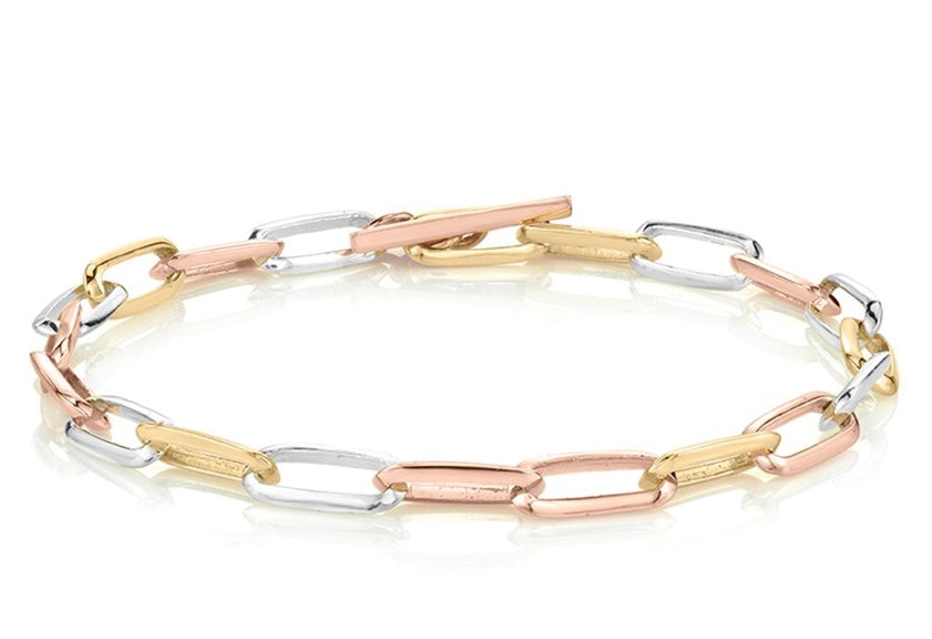 Mixed Metal Knife Edge Oval Link Bracelet