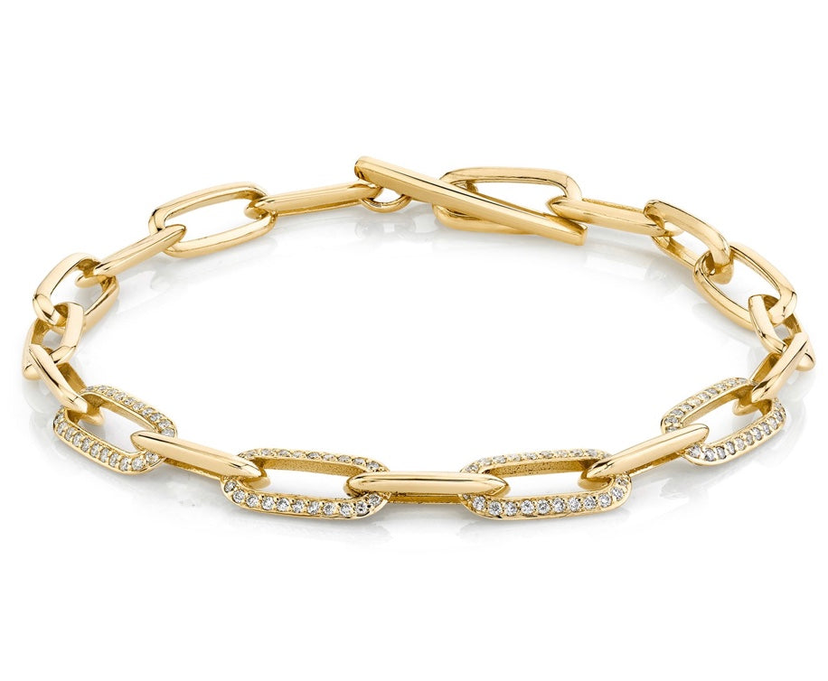 Knife Edge Oval Link Chain Bracelet with Four Alternating Half-Pavé Links